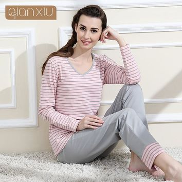 Qianxiu Brand Pajamas Cotton Stripes Sleepwear Long sleeve lounge wear