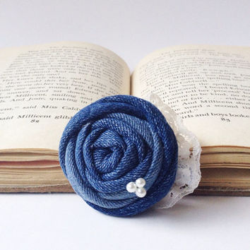 Denim jean navy blue rosette hair piece white pearls cream lace rustic vintage fabric fashion flower girl rose clip country wedding bridal