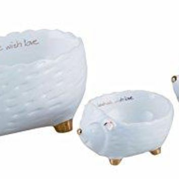 Nested White and Gold Hedgehog Container Set - 3 Nesting Bowls - Jewelry or Trinkets