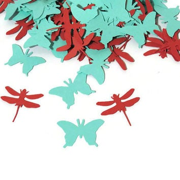 100 Butterflies and dragonflies confetti - whimsical wedding decorations - handmade party decor