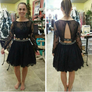 Two Piece Black Lace Homecoming Dress, Long Sleeve Homecoming Dresses