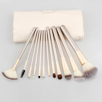 Fashion 12Pcs Persia Fiber Hair Beige Makeup Brush Champagne Brush Handle Women's  Cosmetic Brush Set
