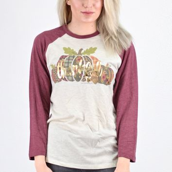 Thankful Pumpkins Raglan Top {Oat/Maroon}