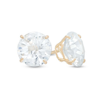 8.0mm Lab-Created White Sapphire Stud Earrings in 10K Gold