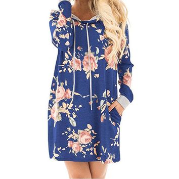 Hoodies Dress Women Floral Printed Dresses Hoody Female Winter Long Sleeve Pockets Hooded Dress GV892