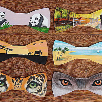 FREE SHIPPING Panda wooden bow tie. Hand painted. Handicraft unique gift. #JVbowtie