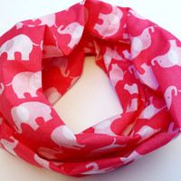 Pink Elephant Print Toddler Tube Scarf Childrens Animal Print Infinity Scarf Young Girls Elephant Scarves for Babies Pink Toddler Scarf