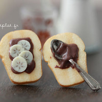 Toast Earrings - Chocolate and Nut Spread with Banana Slices