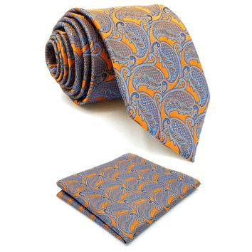 U26 Floral Orange Yellow Blue Men's Neckties 100% Silk Jacquard Woven Brand New hanky Extra Long Size Wedding Ties for men 63""
