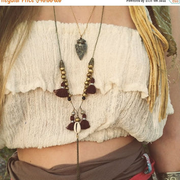 Spring SALE Akai Necklace. Bohemian jewelry, gypsy necklace, boho chic jewelry, leather, festival style, choker