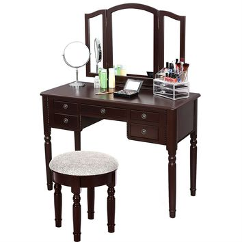 Dark Brown Vanity Set with Makeup Table, Tri-Folding Mirror, and Cushioned Stool