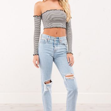 Striped Off Shoulder Crop Top with Connected Sleeves