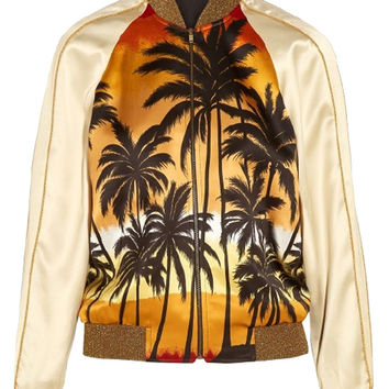 Multicolor Coconut Palm Print Sequined Trims Bomber Jacket