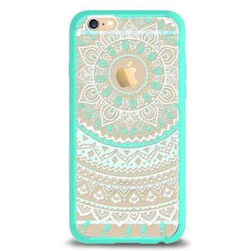 DCCKRQ5 iPhone 6 Case,iPhone 6s Case,by Ailun,Solid Acrylic Back&Reinforced Soft TPU Frame,Ultra-Slim,Shock-Absorption Bumper,Anti-Scratch&Fingerprint&Oil Stain Back Cover[Mandala MintGreen]