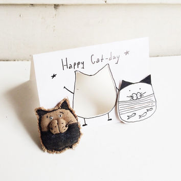 Birthday Cards - Cat Happy Birthday Card - Funny Card Birthday - Celebration Card - Animal Card - Card With Brooch - Cat Card