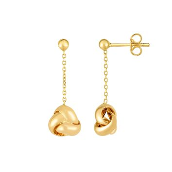 14K Yellow Gold Love Knot Drop Earrings