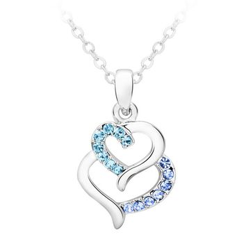 2017 New Ladies Fashion Jewelry Austrian Crystal Heart-shaped Necklace Pendant Silver-plated Birthday Best Friend Gift Jewelry
