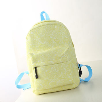 Women's Students School Bags Lace High Quality Double Shoulder Bag Canvas Yellow Backpack