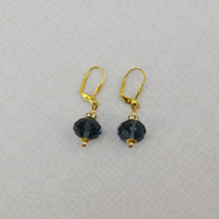 Blue Faceted Stone Earrings