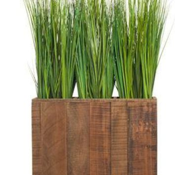 """62"""" Grass In Brown Wood Planter Box"""