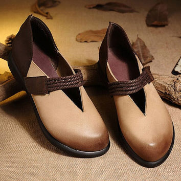 2016 New Color Blocking Handmade soft leather Retro loafers Shoes,Oxford Women Shoes, simple Flat Shoes,comfortable Casual Shoes