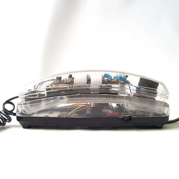 vintage 1990's clear see thru telephone phone black base cord electronics modern retro decorative home decor mens womens slim push button