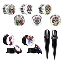 BodyJ4You Gauges Kit Plugs Tapers Ear Stretch Steel Screw Fit Sugar Skull 00G Piercing Set 12PCS