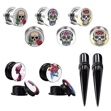 BodyJ4You Gauges Kit Plugs Tapers Ear Stretch Steel Screw Fit Sugar Skull 2G Piercing Set 12PCS