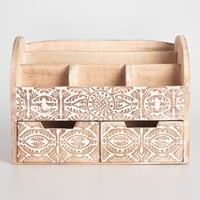 Large Hand Carved Wood Gianna Desk Organizer
