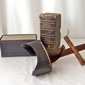 Antique Stereoscope Card Viewer Victorian Era Tour of the World Stereographic Library View Cards Steroscopic Viewer 50 View Cards