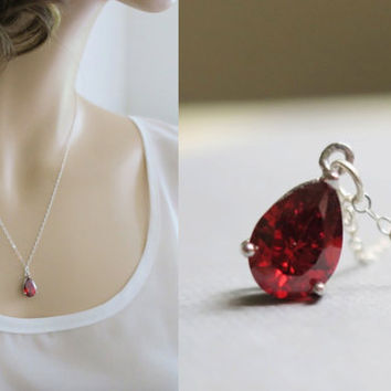 Necklace Crystal, Garnet Drop, Sterling Silver Delicate Chain, Red Pendant Necklace, Prong Setting, Holiday Gifts for Her Bridesmaid Wedding