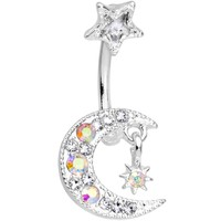 Clear Aurora Gem Crescent Moon and Star Duo Dangle Belly Ring