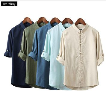 Mr.Young Men Linen Shirts Long Sleeve Chinese Style Traditional Kung Fu Tang Casual Social Shirt Design Swag Yoga Brand Clothing