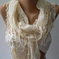 Creamy Fantastic Scarf - Elegance  Scarf  with Lace Edge trendscarf Mother's day