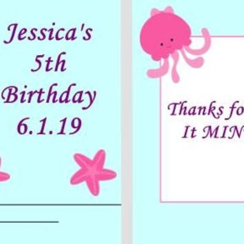 20 Mermaid and Friends Birthday Party Matchbook Mint Favors Red Hair