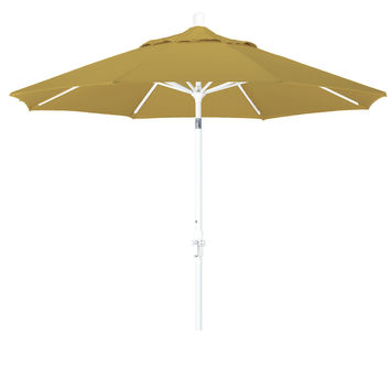 9 Foot Sunbrella 5A Fabric Aluminum Crank Lift Collar Tilt Patio Umbrella with White Pole