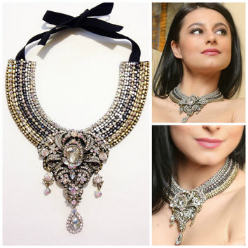 Crystal statement bib necklace,beadwork, one-of-a-kind