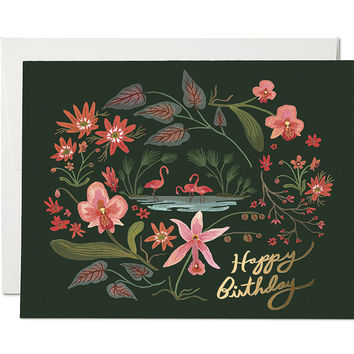 birthday flamingos card