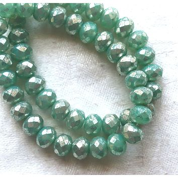 Lot of 25 Czech glass faceted puffy rondelle beads, opaque lightmint green with a silver mercury finish, donut beads, 5 x 7mm C00201