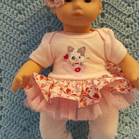 "Baby Doll Clothes to fit Bitty Baby ""Valentine Kitty"" (15 inch) Will fit Bitty Baby® dress, leggings, socks and headband E1"