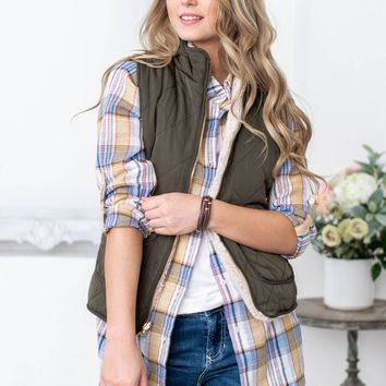 Reversible Sherpa Lined Zip Vest | Army Green