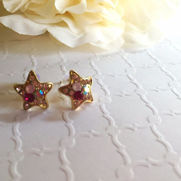 Rhinestone Star Earrings - Star Earrings - Crystal Stud Earrings - Star Studs - Rhinestone Earrings