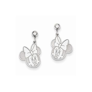 Sterling Silver or Yellow Gold Plated Disney Minnie Dangle Post Earrings