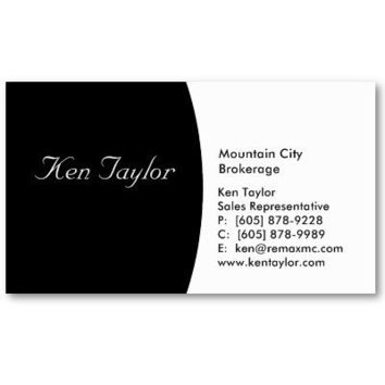 Classy Black & White Business Card Round from Zazzle.com