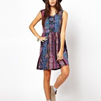 ASOS Smock Dress In Paisley Stripe at asos.com