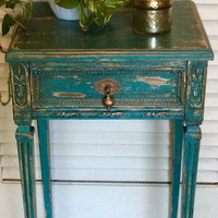 Shabby Chic Blue Vintage Nightstand.