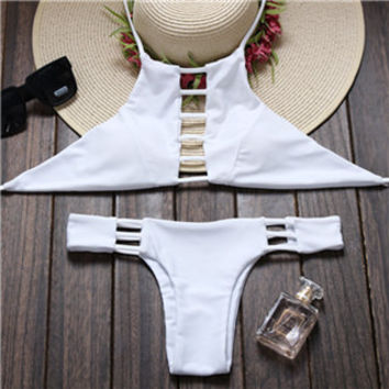 Bae High Neck Halter Cut Out Cheeky Brazilian Bikini (2 piece) Set in White