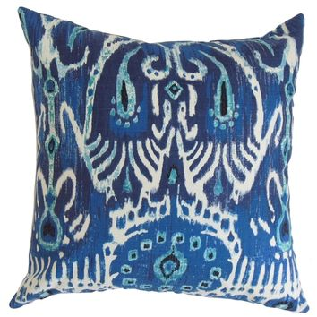 Haestingas Ikat Down Fill Throw Pillow Navy Blue | Overstock.com Shopping - The Best Deals on Throw Pillows