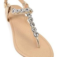 metallic sandal with large stone strap - debshops.com