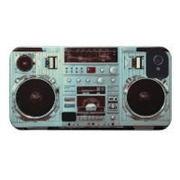 Aqua Boombox Iphone 4 Id Cases